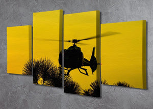 Patrol Helicopter flying in the sky 4 Split Panel Canvas  - Canvas Art Rocks - 2