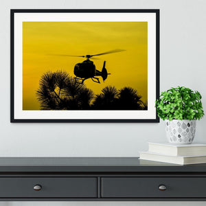 Patrol Helicopter flying in the sky Framed Print - Canvas Art Rocks - 1