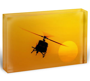 Patrol helicopter flying in sunset Acrylic Block - Canvas Art Rocks - 1