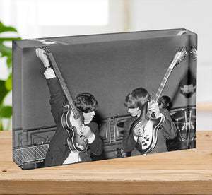 Paul McCartney and George Harrison tune their guitars Acrylic Block - Canvas Art Rocks - 2