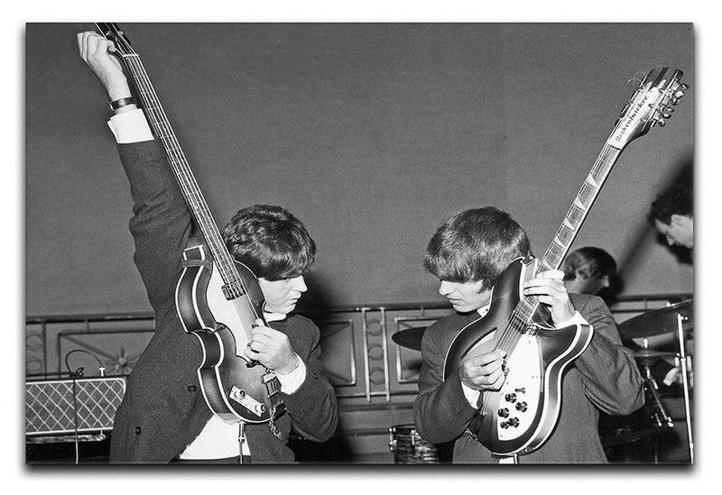 Paul McCartney and George Harrison tune their guitars Canvas Print or Poster  - Canvas Art Rocks - 1
