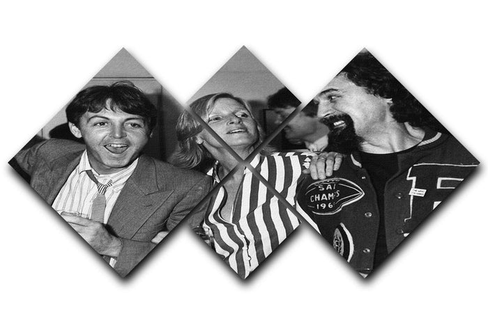 Paul and Linda McCartney with Billy Connolly 4 Square Multi Panel Canvas