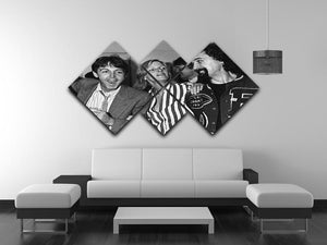 Paul and Linda McCartney with Billy Connolly 4 Square Multi Panel Canvas - Canvas Art Rocks - 3
