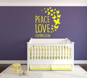 Peace, Love Compassion - Version 2 Wall Decal - Canvas Art Rocks - 1