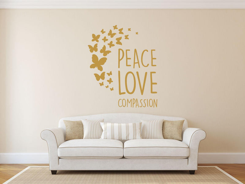 Peace, Love Compassion Wall Decal - Canvas Art Rocks - 1