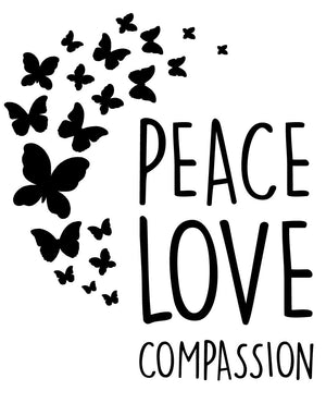 Peace, Love Compassion Wall Decal - Canvas Art Rocks - 2