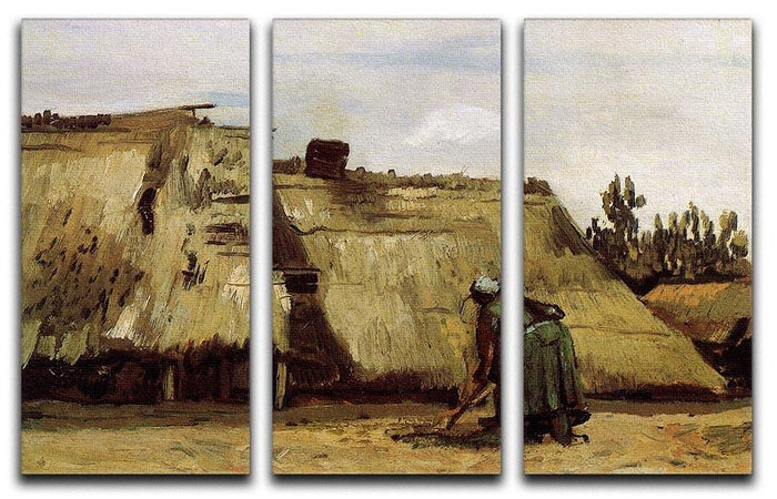 Peasant Woman Digging in Front of Her Cottage by Van Gogh 3 Split Panel Canvas Print