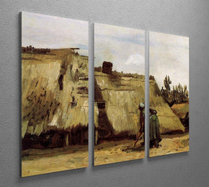 Peasant Woman Digging in Front of Her Cottage by Van Gogh 3 Split Panel Canvas Print - Canvas Art Rocks - 4