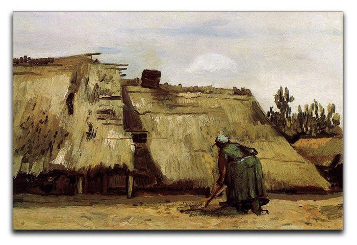 Peasant Woman Digging in Front of Her Cottage by Van Gogh Canvas Print or Poster