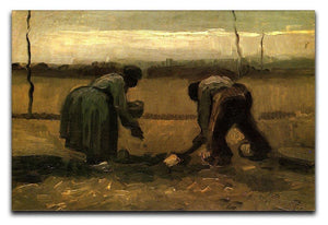 Peasant and Peasant Woman Planting Potatoes by Van Gogh Canvas Print & Poster  - Canvas Art Rocks - 1