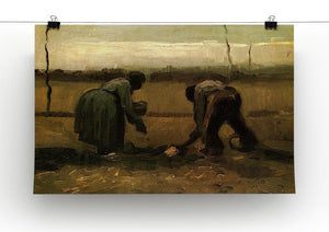 Peasant and Peasant Woman Planting Potatoes by Van Gogh Canvas Print & Poster - Canvas Art Rocks - 2
