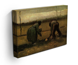 Peasant and Peasant Woman Planting Potatoes by Van Gogh Canvas Print & Poster - Canvas Art Rocks - 3