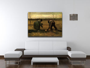 Peasant and Peasant Woman Planting Potatoes by Van Gogh Canvas Print & Poster - Canvas Art Rocks - 4
