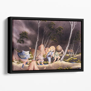Peasants surprised by a violent storm by Hokusai Floating Framed Canvas
