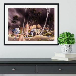 Peasants surprised by a violent storm by Hokusai Framed Print - Canvas Art Rocks - 1