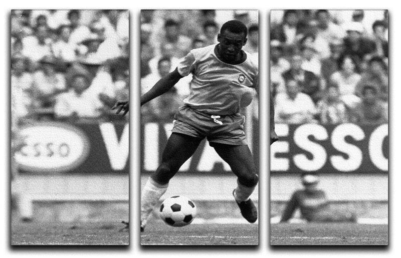 Pele Football 3 Split Panel Canvas Print - Canvas Art Rocks - 1