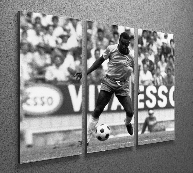 Pele Football 3 Split Panel Canvas Print - Canvas Art Rocks - 2