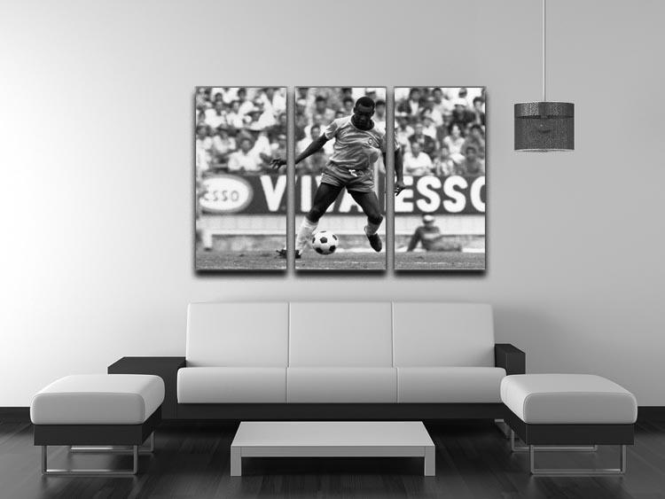 Pele Football 3 Split Panel Canvas Print - Canvas Art Rocks - 3