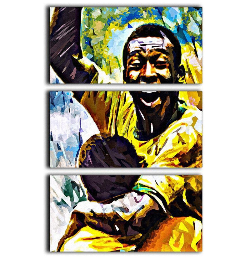 Pele Pop Art 3 Split Panel Canvas Print - Canvas Art Rocks - 1