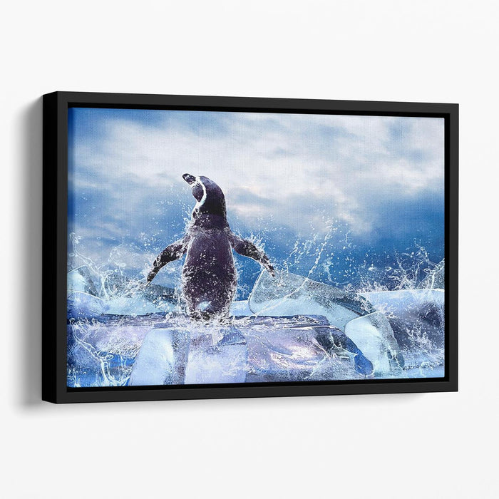 Penguin on the Ice in water drops Floating Framed Canvas