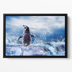 Penguin on the Ice in water drops Floating Framed Canvas - Canvas Art Rocks - 2