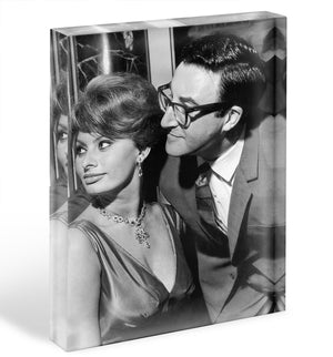 Peter Sellers with actress Sophie Loren Acrylic Block - Canvas Art Rocks - 1