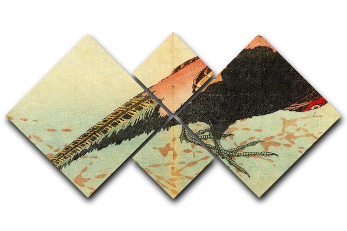 Pheasant on the snow by Hokusai 4 Square Multi Panel Canvas