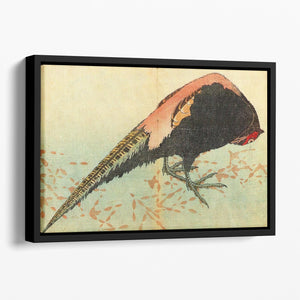 Pheasant on the snow by Hokusai Floating Framed Canvas