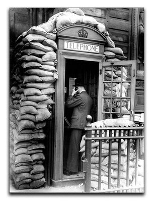 Phone box with sandbags Canvas Print or Poster  - Canvas Art Rocks - 1