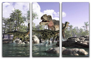 Photorealistic 3 D scene of a Tyrannosaurus Rex 3 Split Panel Canvas Print - Canvas Art Rocks - 1