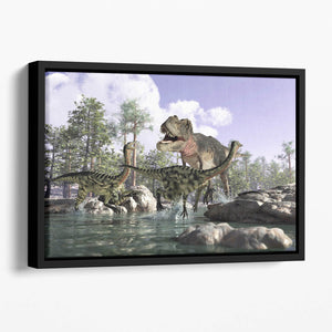 Photorealistic 3 D scene of a Tyrannosaurus Rex Floating Framed Canvas