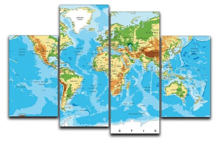 Physical map of the world 4 Split Panel Canvas