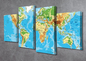 Physical map of the world 4 Split Panel Canvas  - Canvas Art Rocks - 2