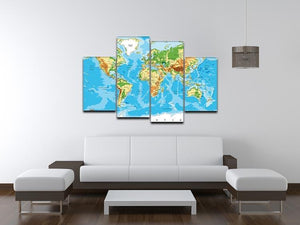 Physical map of the world 4 Split Panel Canvas  - Canvas Art Rocks - 3