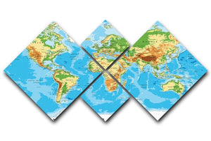 Physical map of the world 4 Square Multi Panel Canvas  - Canvas Art Rocks - 1