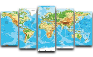 Physical map of the world 5 Split Panel Canvas  - Canvas Art Rocks - 1