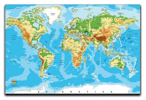 Physical map of the world Canvas Print or Poster  - Canvas Art Rocks - 1