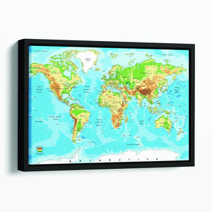 Physical map of the world Floating Framed Canvas