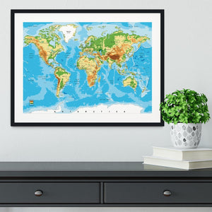 Physical map of the world Framed Print - Canvas Art Rocks - 1