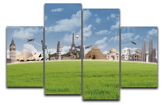 Picture of different landmarks 4 Split Panel Canvas