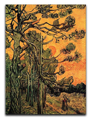 Pine Trees against a Red Sky with Setting Sun by Van Gogh Canvas Print & Poster  - Canvas Art Rocks - 1