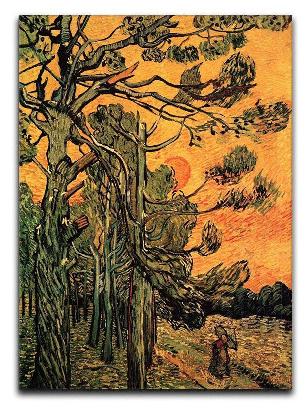 Pine Trees against a Red Sky with Setting Sun by Van Gogh Canvas Print or Poster