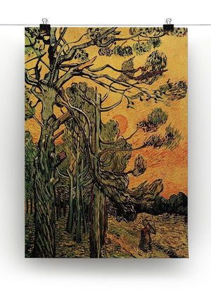 Pine Trees against a Red Sky with Setting Sun by Van Gogh Canvas Print & Poster - Canvas Art Rocks - 2