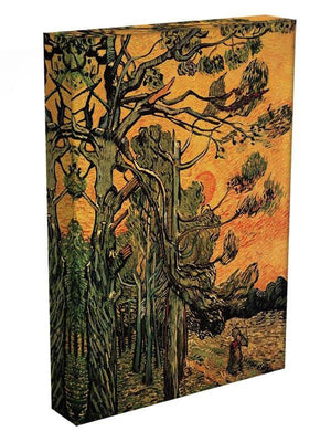 Pine Trees against a Red Sky with Setting Sun by Van Gogh Canvas Print & Poster - Canvas Art Rocks - 3