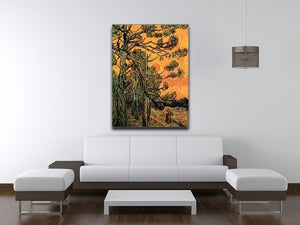 Pine Trees against a Red Sky with Setting Sun by Van Gogh Canvas Print & Poster - Canvas Art Rocks - 4