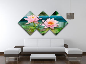 Pink Lotus or water lily in pond 4 Square Multi Panel Canvas  - Canvas Art Rocks - 3