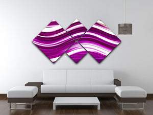 Pink Wave 4 Square Multi Panel Canvas - Canvas Art Rocks - 3