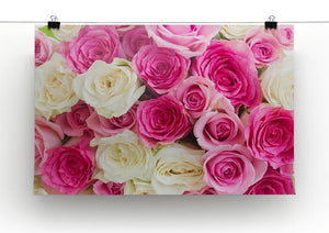 Pink and white fresh rose flowers Canvas Print or Poster - Canvas Art Rocks - 2