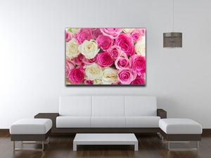 Pink and white fresh rose flowers Canvas Print or Poster - Canvas Art Rocks - 4