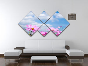 Pink cosmos field and sky 4 Square Multi Panel Canvas  - Canvas Art Rocks - 3